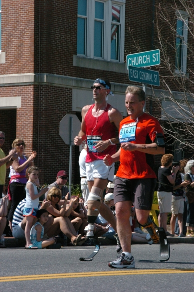 """Boston Marathon 2012. Tim encourages this philosophy : """"You may not be able to do everything but you can do something. Find it ,do it and you will find you are stronger than you know."""""""