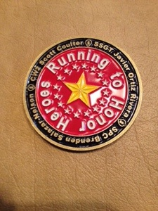 Medal given to me from running to honor heroes project