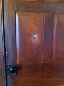 This is the actual door, 167 years old, that the mobs shot a bullet through..the bullet that killed Hyrum Smith and began the martyrdom of Joseph Smith